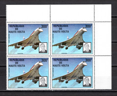 HAUTE VOLTA   PA  N° 168  BLOC DE QUATRE TIMBRES NEUF SANS CHARNIERE  COTE  20.00€  CONCORDE AVION   GENERAL DE GAULLE - Upper Volta (1958-1984)