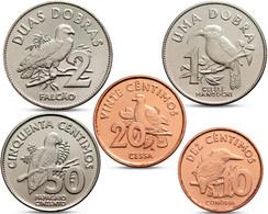 SAN SAO TOME AND PRINCIPE 5 COINS SET 10 20 50 CENTIMOS 1 2 DOBRAS BIRD 2017 UNC - Sao Tome And Principe