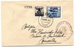 Carta Con Censura Militar Y Patriotico De Burgos Nº 72hcc Y Viñeta De Auxilio De Invierno. - Emissioni Repubblicane