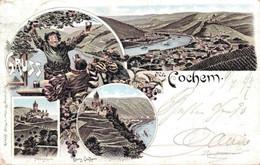 79652- Litho Gruss Aus Cochem Mit Burg 1897 - Cochem