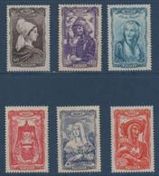 FR 1943   Coiffes Régionales  N°YT 593-598  ** MNH - Unused Stamps