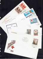 Thèmes - Lot De Cinq Enveloppes FDC Croix Rouge Différentes - - Sin Clasificación
