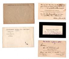 1 Lot  De Cartes De Visites Et Enveloppes Concernant Des Personnalites Des Affaires Etrangères Du Début Du 20° Siecle - Visiting Cards