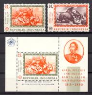 Indonesia, 1967, Raden Saleh Paintings, Bush Fire, Animals, Tiger, Buffalo, MNH, Michel 590-591, Block 8 - Indonesia