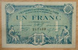 Albi, Castres, Mazamet ( 81 - TARN ) 1 Franc Chambre De Commerce 22-12-1917 - Chambre De Commerce