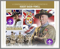 TOGO 2021 MNH Robert Baden-Powell Scouts Pfadfinder S/S - IMPERFORATED - DHQ2120 - Unused Stamps