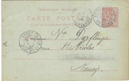 1902 / Entier Mouchon 10 C / Carte Commerciale BUREAU Chaussures / Eymoutiers 87 Haute-Vienne - 1900 – 1949