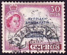 CYPRUS 1960 QEII 30m Black & Carmine-Lake SG195 FU - Chipre (...-1960)