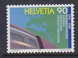 Switzerland  1992 Internat. Eisenbahnverkehr / Map Of Europe1v ** Mnh (51992) - Europäischer Gedanke