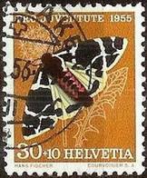 """Schweiz Suisse Pro Juventute 1955: """"Arctia Flavia"""" Zu WI 161 Mi 621 Yv 570 Mit Stempel INTERLAKEN .56 (Zu CHF 6.00) - Used Stamps"""