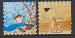 Faroe Islands Mi 698-699 Europa - Children Books - Dog - Cat - Fish - 2010 ** - Faroe Islands