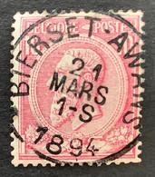Leopold II OBP 46 - 10c Gestempeld EC BIERSET-AWANS - 1884-1891 Leopoldo II