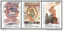 ANDORRA ESPAÑOLA 2002 - PINTURA MURAL DE LA IGLESIA DE SANTA COLOMA  - Edifil Nº 301/303 - Yvert 286-288 - Nuevos