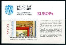 ANDORRA 1985 - MUSICA - HOJITA BLOQUE - Vegueria Episcopal
