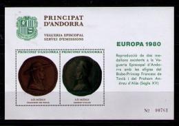 ANDORRA 1980 - HOJA RECUERDO REPRODUCCION DE DOS MEDALLONES - Vegueria Episcopal