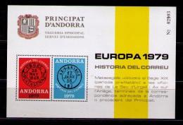ANDORRA 1979 - HOJA RECUERDO HISTORIA DEL CORREO - Vegueria Episcopal
