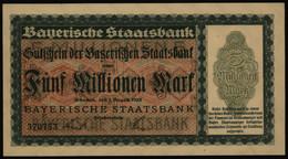Geldschein Banknote Notgeld Bayern 219 5 Mio.Mark Staatsbank 1.8.1923 - I. - Unclassified