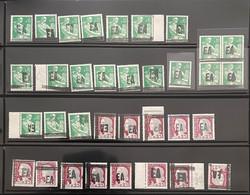 ALGÉRIE 1962 - N** - TYPE 1-1 / 1-2 - SURCHARGES EA ALGER - LOT De (21 Moissonneuse + 13 Marianne De Decaris) - Argelia (1962-...)