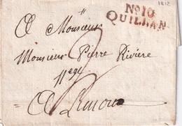 FRANCE  1812  LETTRE   DE QUILLAN  SANS CORRESPONDANCE - 1801-1848: Precursors XIX