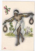 ART DECO - Coloniali - ETHNIC POSTCARD - Illustrata BONORA - SEMI NUDE BLACK WOMAN  Porta Acqua-Colonie Italiane 1930 Ca - Sin Clasificación
