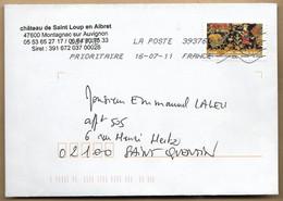 Enveloppe Entière Montagnac-sur-Auvignon (47) Château De Saint-Loup En Albret 2scans 16-07-2011 Iran Musée Du Louvre - 1961-....