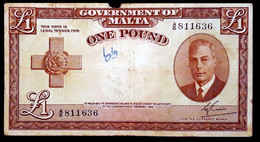 # # # Ältere Und Sehr Seltene Banknote Malta 1 Pfund 1951 # # # - Malta
