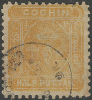 Cochin(India). 1894 Definitives. ½put Yellow Used. SG 5b - Cochin