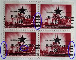 LANDSCAPES-2 K-ZAGREB-BLOCK OF FOUR-OVERPRINT BLACK STAR-JUGOSLAVIJA-ERROR-RARE-YUGOSLAVIA-NDH-CROATIA-1945 - Croatia