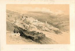 1847 Year Antique Print Holy Land Palestine Israel Nazareth Monastery  Jews Arabs - Prints & Engravings