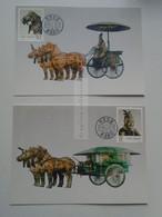 D179304   CARTE MAXIMUM CARD - MAXICARD-   China 1990 Coach - Horse  Lot Of 2 Pcs - Maximum Cards