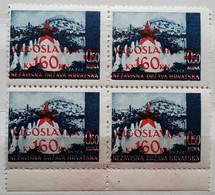 LANDSCAPES-0.50 K-JAJCE-BLOCK OF FOUR-OVERPRINT RED STAR-JUGOSLAVIJA-ERROR-YUGOSLAVIA-NDH-CROATIA-1945 - Croatia