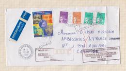 21B1073 MARCOPHILIE ENVELOPPE POUR CAMBODGE VALISE DIPLOMATIQUE RETOUR EXPEDIT - Cambodia
