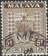 NEGRI SEMBILAN 1935 Arms Of Negri Sembilan - 5c - Brown FU - Malaysia (1964-...)