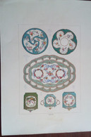 Lotto N. 3 Cromolitografie Vasi Di Porcellana Di Sevres 1885 (P617)  Come Da Foto  30,0 X 21,0 Cm - Lithographies