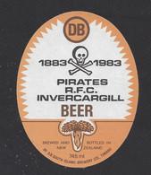 Etiquette De Bière  -  Pirate RFC Invercargill 1883/1983  -  Brasserie DB Brewery à Timaru   (Nouvelle Zélande) - Cerveza