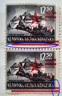 LANDSCAPES-12.50 K-PAIR-VELIKI TABOR-OVERPRINT RED STAR-JUGOSLAVIJA-ERROR-YUGOSLAVIA-NDH-CROATIA-1945 - Croatia