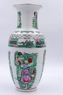 Vase Vert Et Blanc à Decor De Fleurs - Chine . - Asian Art