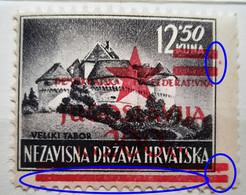 LANDSCAPES-12.50 K-VELIKI TABOR-OVERPRINT RED STAR-JUGOSLAVIJA-ERROR-YUGOSLAVIA-NDH-CROATIA-1945 - Croatia