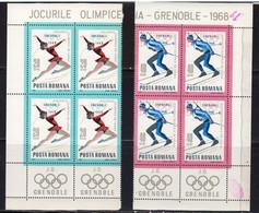 Roumanie 1967 Yvert 2329 / 2335 ** Neufs Sans Charniere. Blocs De 4. JO D'hiver De Granoble. Emblemes. - Unused Stamps