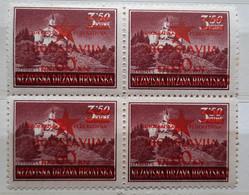 LANDSCAPES-3.50 K-TRAKOŠČAN-BLOCK OF FOUR-OVERPRINT RED STAR-JUGOSLAVIJA-YUGOSLAVIA-NDH-CROATIA-1945 - Croatia