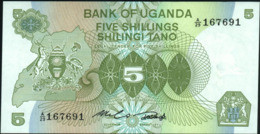 ♛ UGANDA - 5 Shillings Nd.(1982) AU-UNC P.15 - Uganda