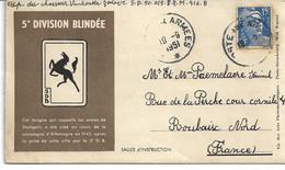 CARTE LETTRE Occupation En Allemagne FFA FEUDENSTADT 5 ème Division Blindée Poste Aux Armées - 1921-1960: Période Moderne