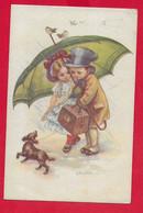 CARTOLINA VG ITALIA - Bambini Con Cane E Ombrello - Illustrata CASTELLI - 9 X 14 - 1919 AMBULANTE TORINO PIACENZA - Castelli
