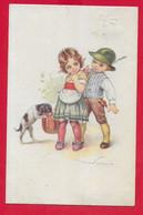 CARTOLINA VG ITALIA - Bambini - Cappello Alpini - Cane - Illustrata CASTELLI - 9 X 14 - 1919 AMBULANTE TORINO PIACENZA - Castelli
