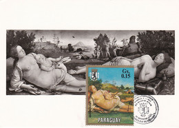 Carte Maximum Painting Peinture Paraguay Piero Di Cosimo Venus Mars Und Amor - Paraguay