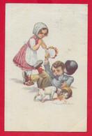CARTOLINA VG ITALIA - Bambini - Caduta - Mazzo Di Fiori - Illustrata CASTELLI - 9 X 14 - 1919 AMBULANTE TORINO PIACENZA - Castelli