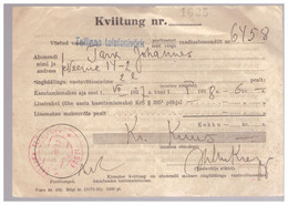 Radioabonent Check With Postal Cachet,1937,Estonia,Estland - Estonie