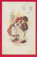 CARTOLINA VG ITALIA - Bambini - Gatto - Fiore All'occhiello - Illustrata CASTELLI - 9 X 14 - 1919 TORINO - Castelli