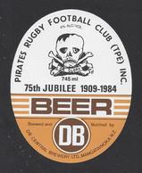 Etiquette De Bière-Jubilée Pirates Rugby Football Club 1957/82-Brasserie DB Brewery à MangatTainoka (Nouvelle Zélande) - Cerveza