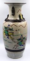 Chine Vase Nankin  Balustre En Porcelaine à Fond Craquelé Decoré De Cavaliers - Art Oriental